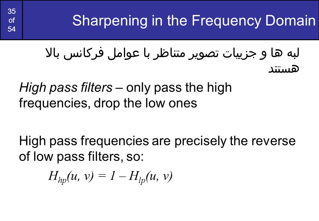 Sharpening in the Frequency Domain