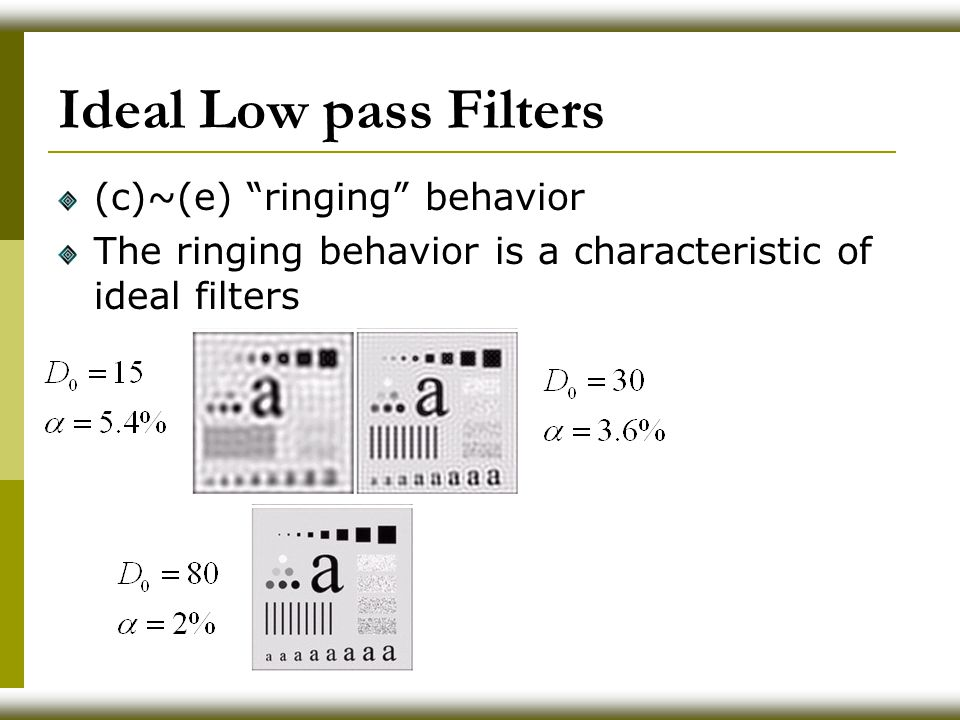 Ideal Low pass Filters (c)~(e) ringing behavior