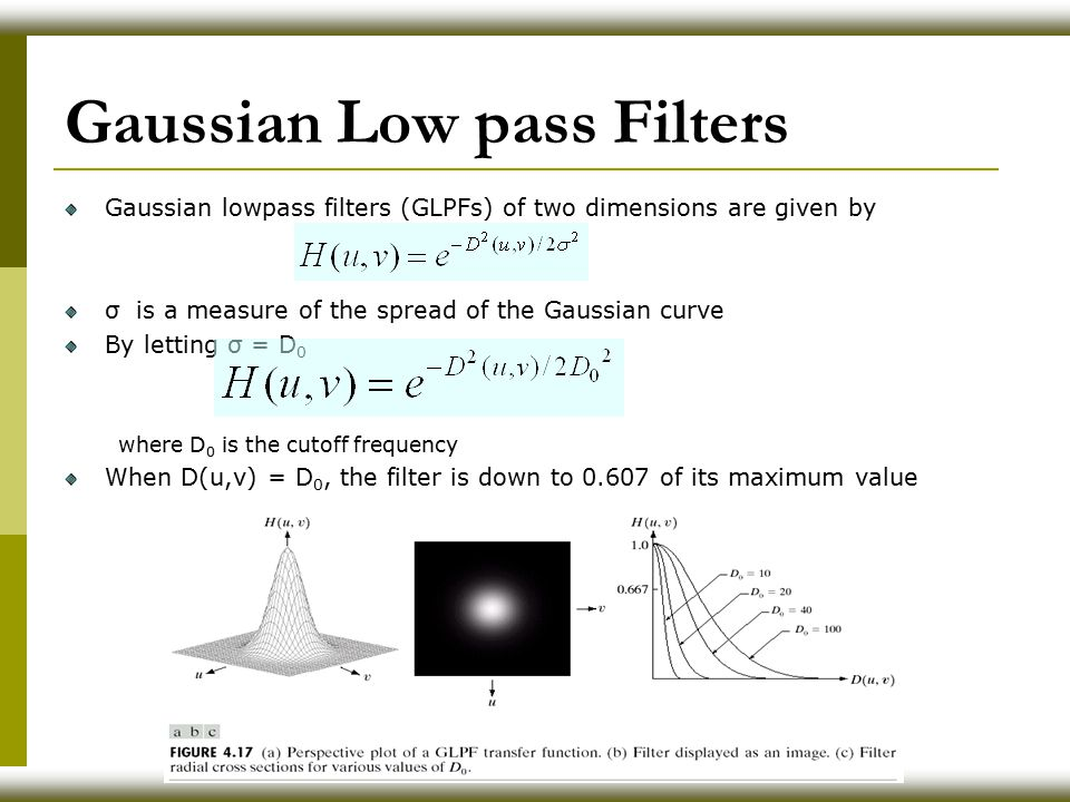 Gaussian Low pass Filters