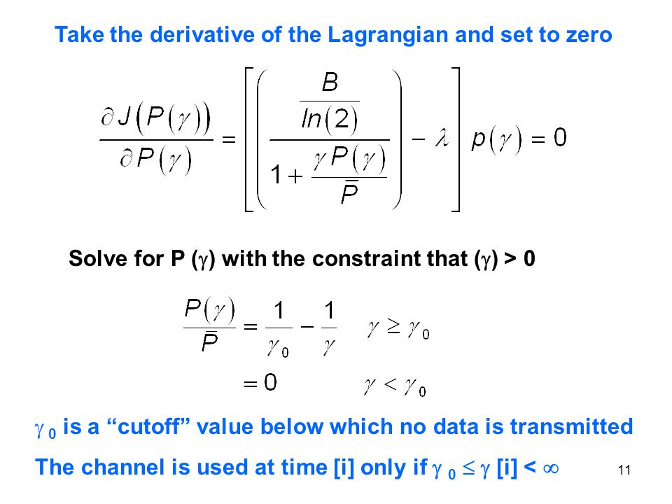 Take the derivative of the Lagrangian and set to zero