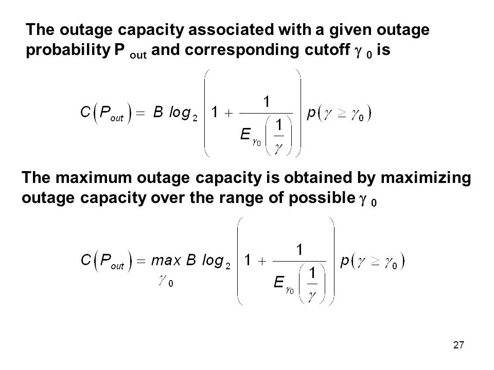The outage capacity associated with a given outage probability P out and corresponding cutoff  0 is
