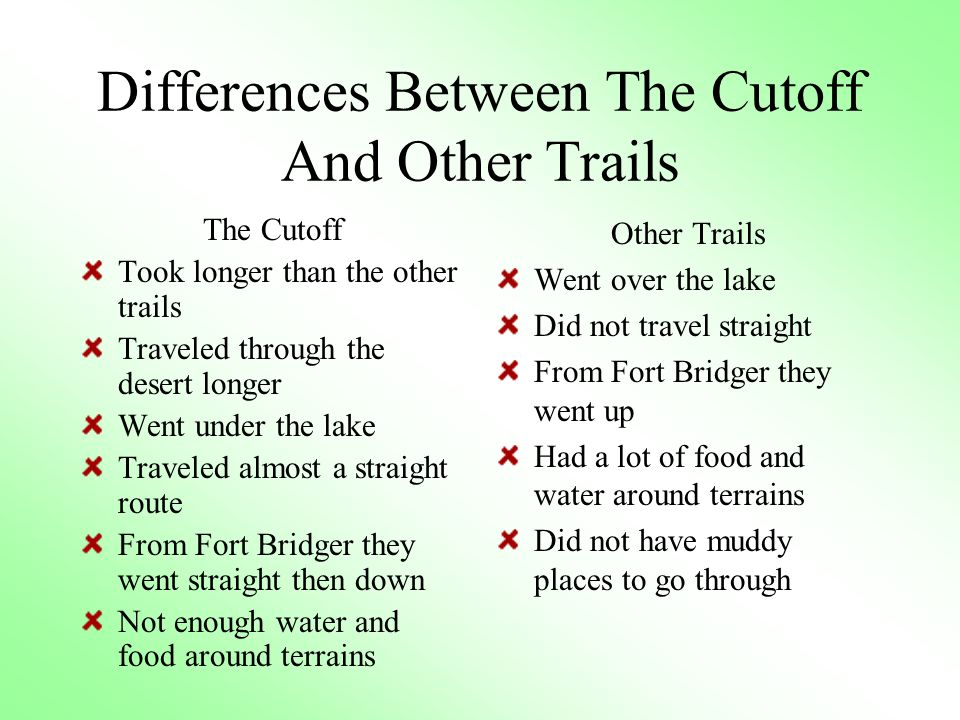 Differences Between The Cutoff And Other Trails