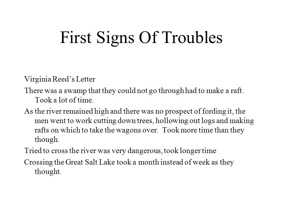 First Signs Of Troubles