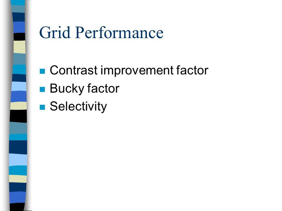 Grid Performance Contrast improvement factor Bucky factor Selectivity