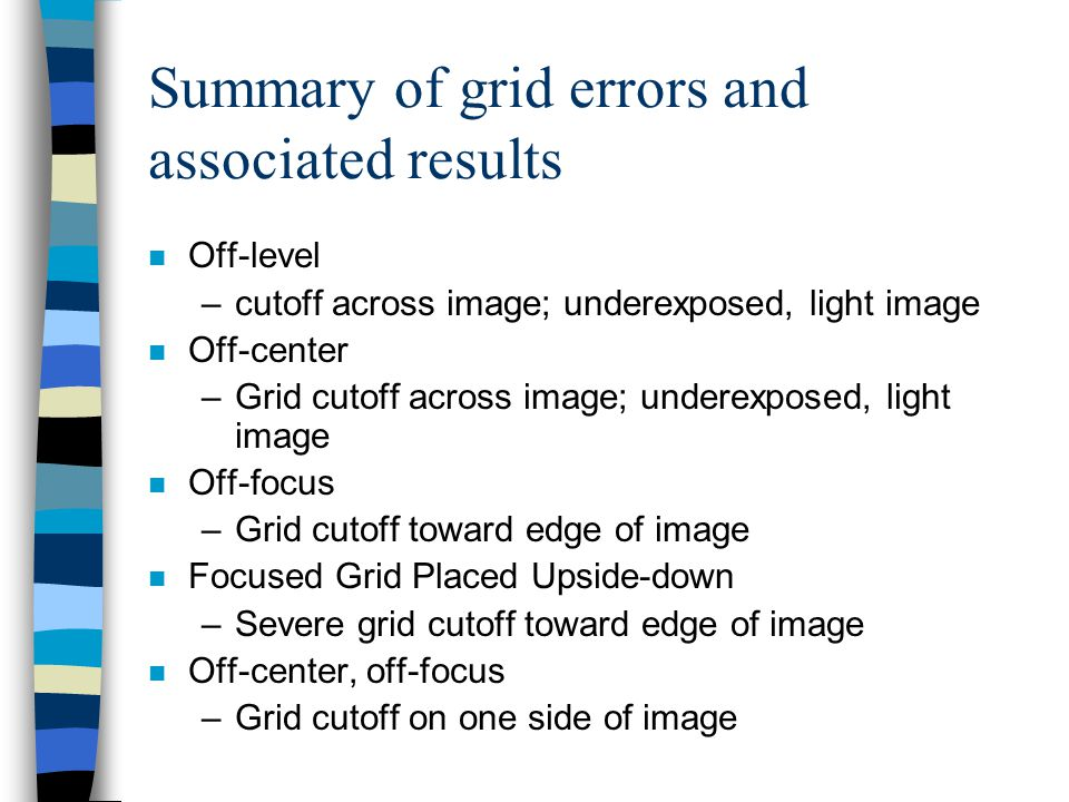 Summary of grid errors and associated results
