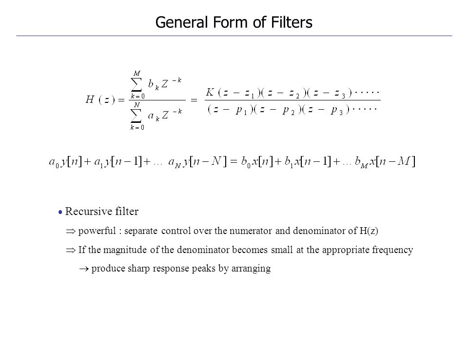 General Form of Filters