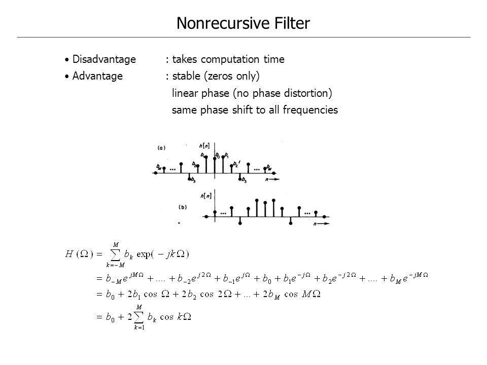 Nonrecursive Filter • Disadvantage : takes computation time