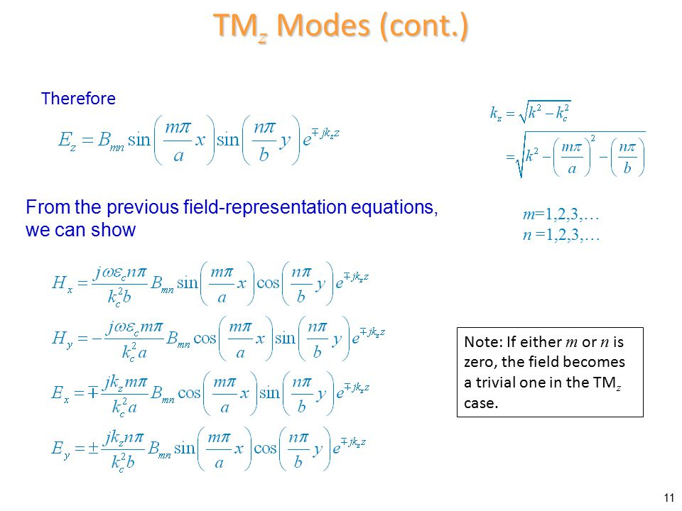 TMz Modes (cont.) Therefore