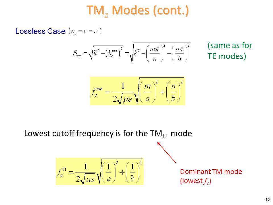 TMz Modes (cont.) (same as for TE modes)