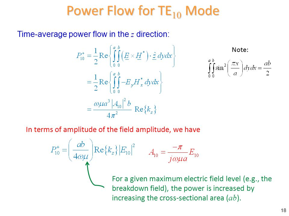 Power Flow for TE10 Mode Time-average power flow in the z direction: