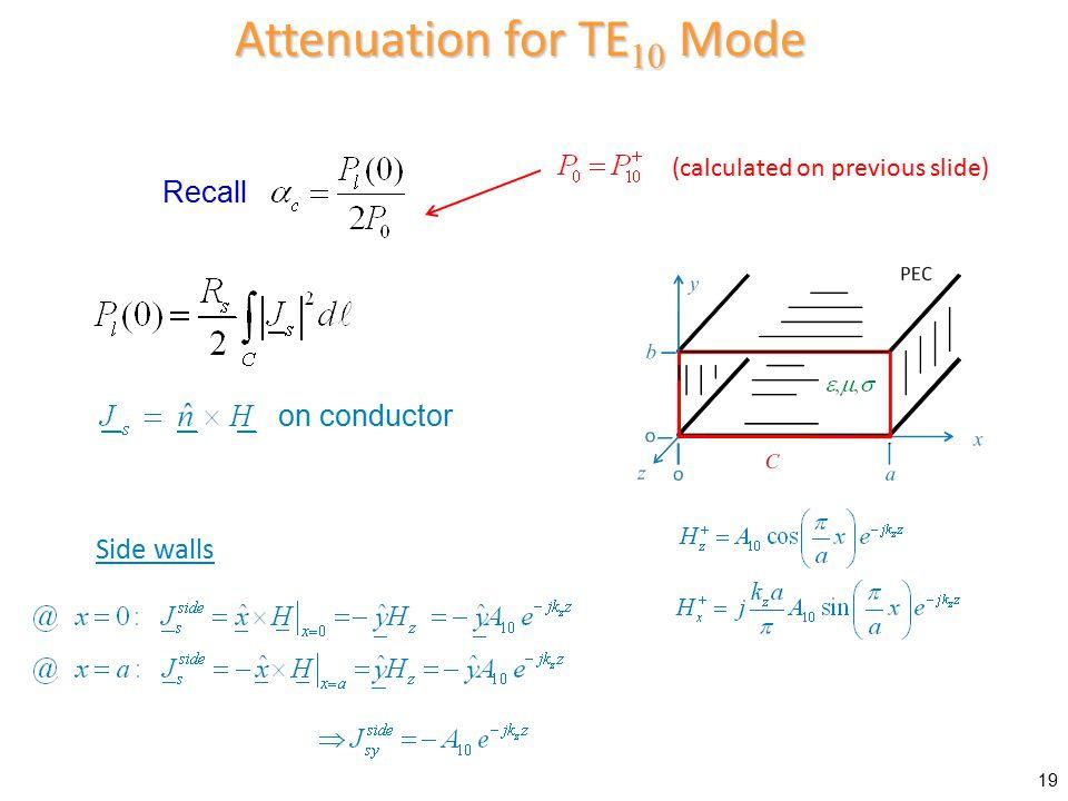 Attenuation for TE10 Mode
