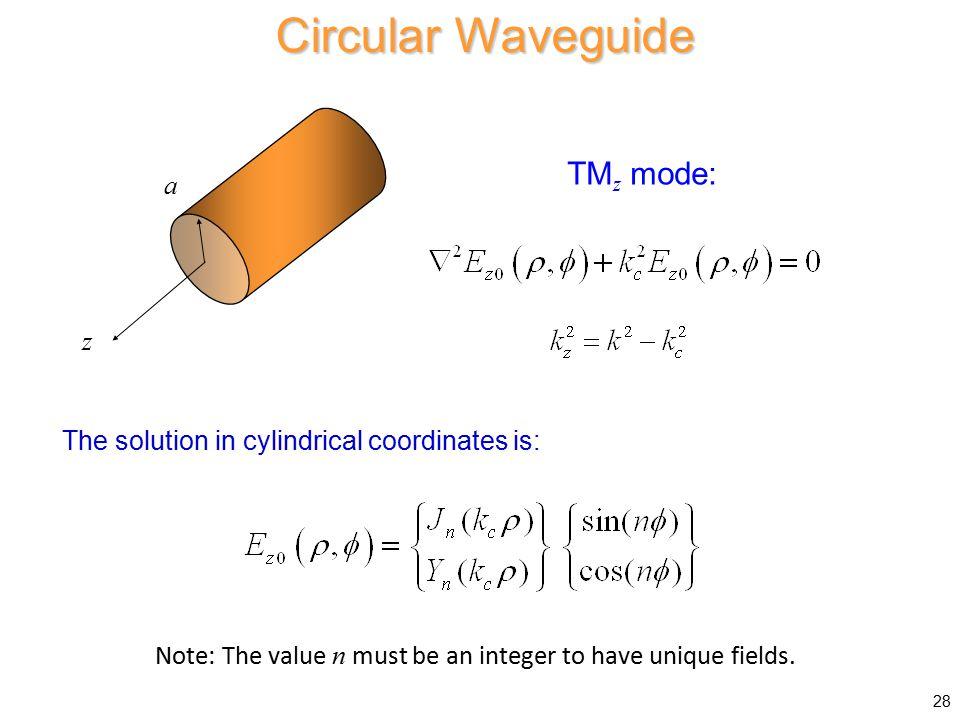 Circular Waveguide TMz mode: a z