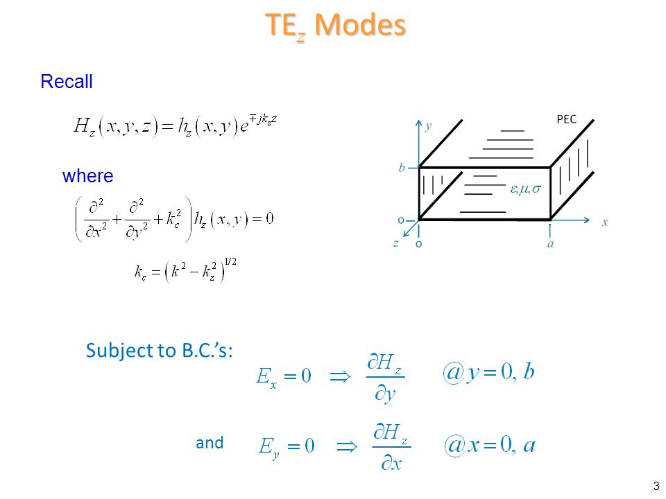 TEz Modes Recall where Subject to B.C.'s: and