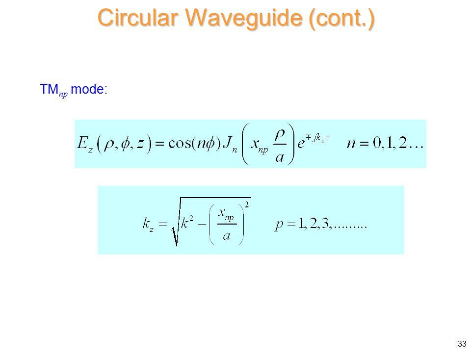 Circular Waveguide (cont.)