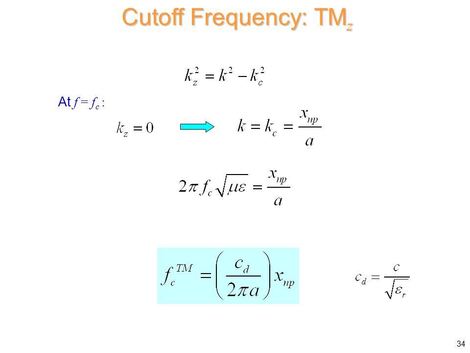 Cutoff Frequency: TMz At f = fc :
