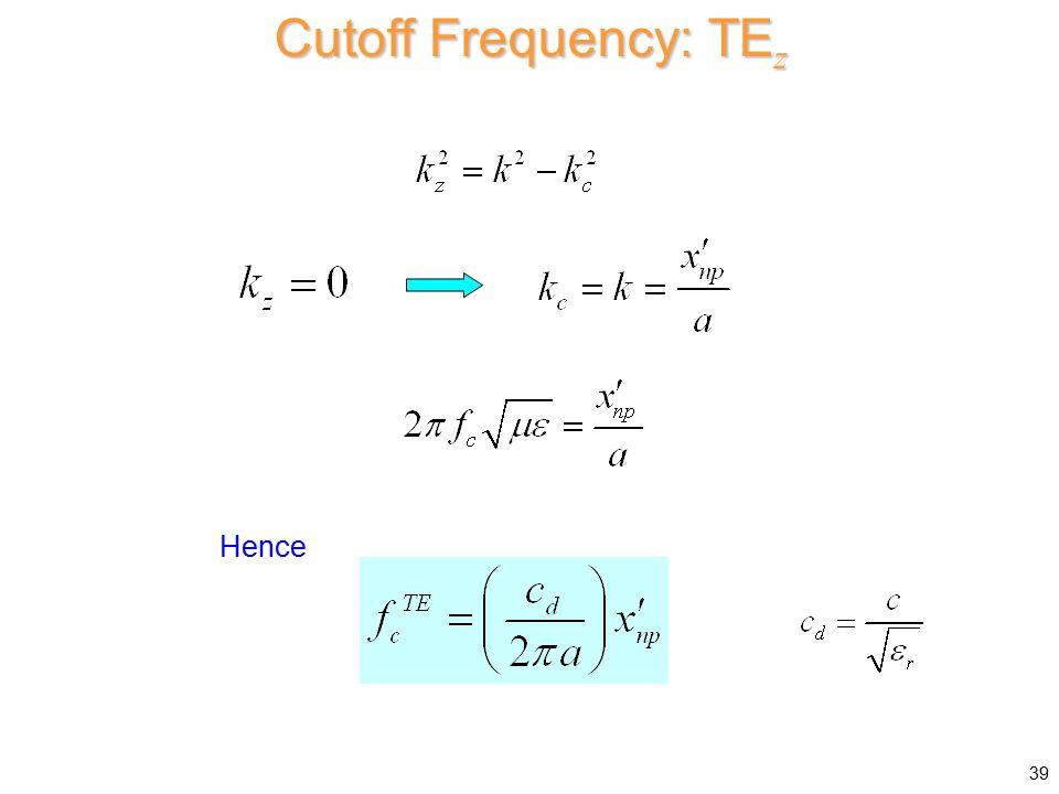 Cutoff Frequency: TEz Hence
