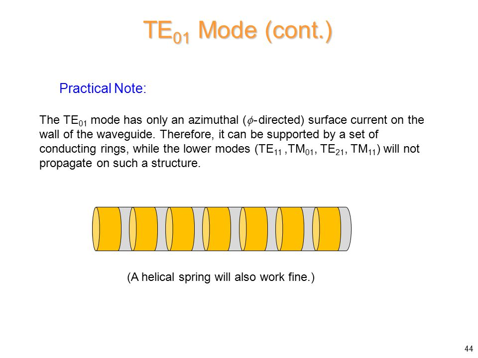 TE01 Mode (cont.) Practical Note: