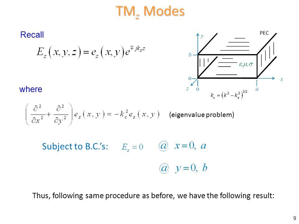 TMz Modes Subject to B.C.'s: Recall where