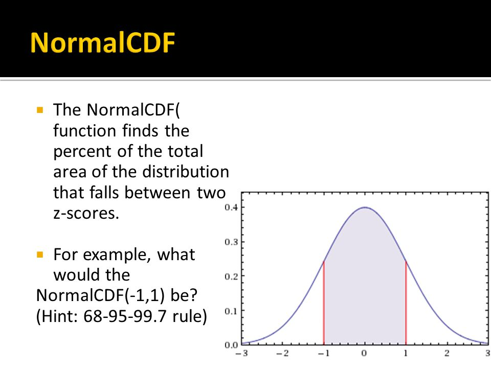 NormalCDF The NormalCDF( function finds the percent of the total area of the distribution that falls between two z-scores.