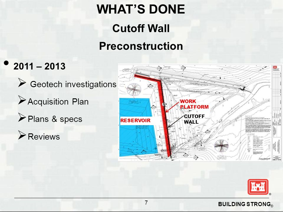 WHAT'S DONE Cutoff Wall Preconstruction 2011 – 2013