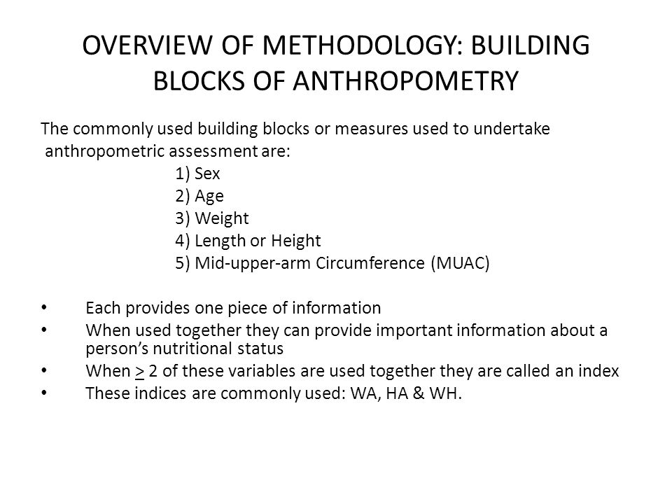 OVERVIEW OF METHODOLOGY: BUILDING BLOCKS OF ANTHROPOMETRY
