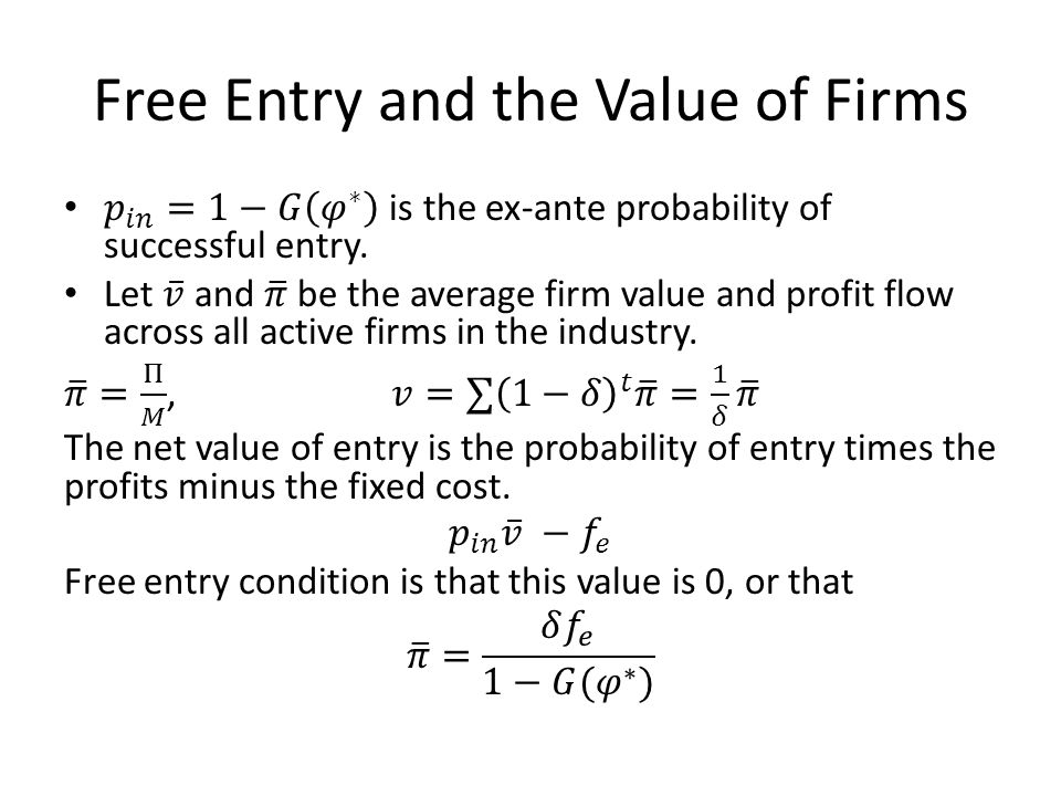 Free Entry and the Value of Firms