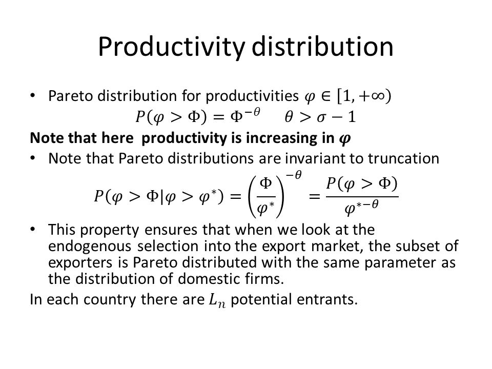 Productivity distribution