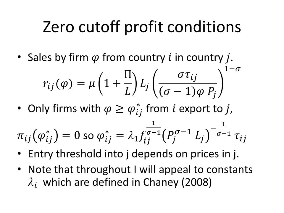 Zero cutoff profit conditions