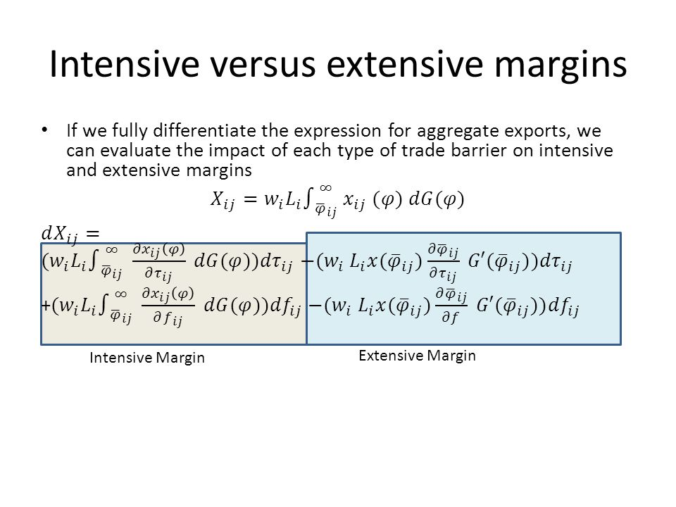 Intensive versus extensive margins