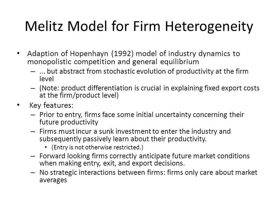 Melitz Model for Firm Heterogeneity
