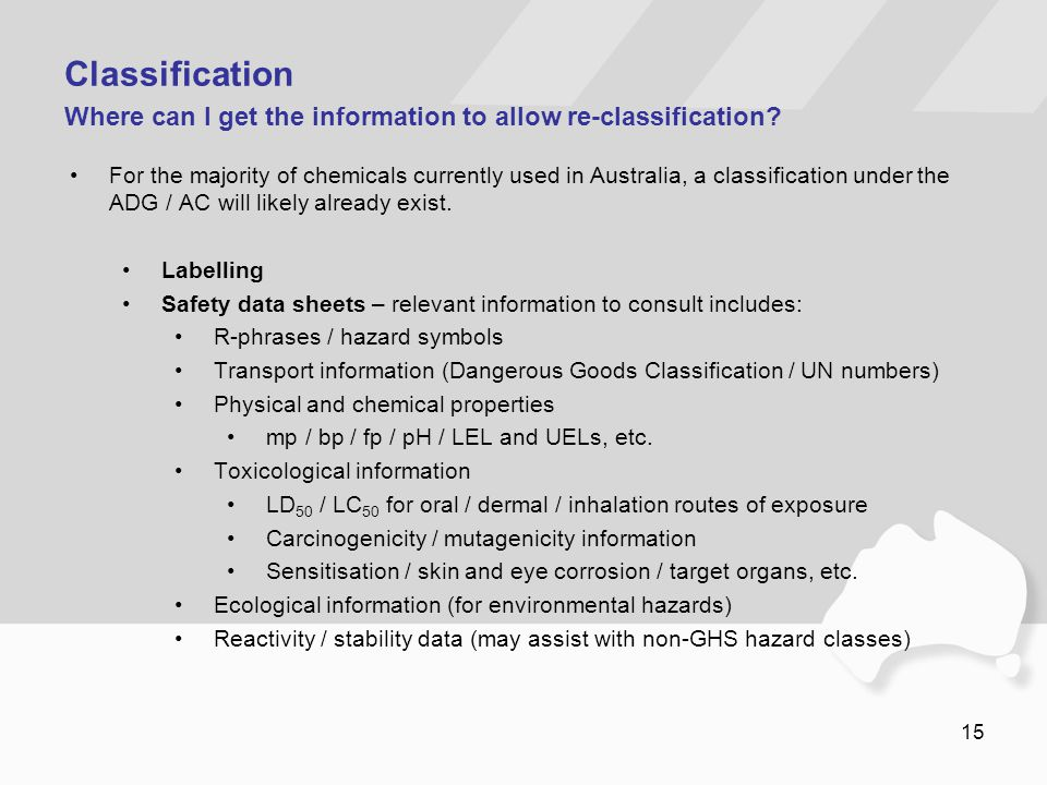 Classification Where can I get the information to allow re-classification