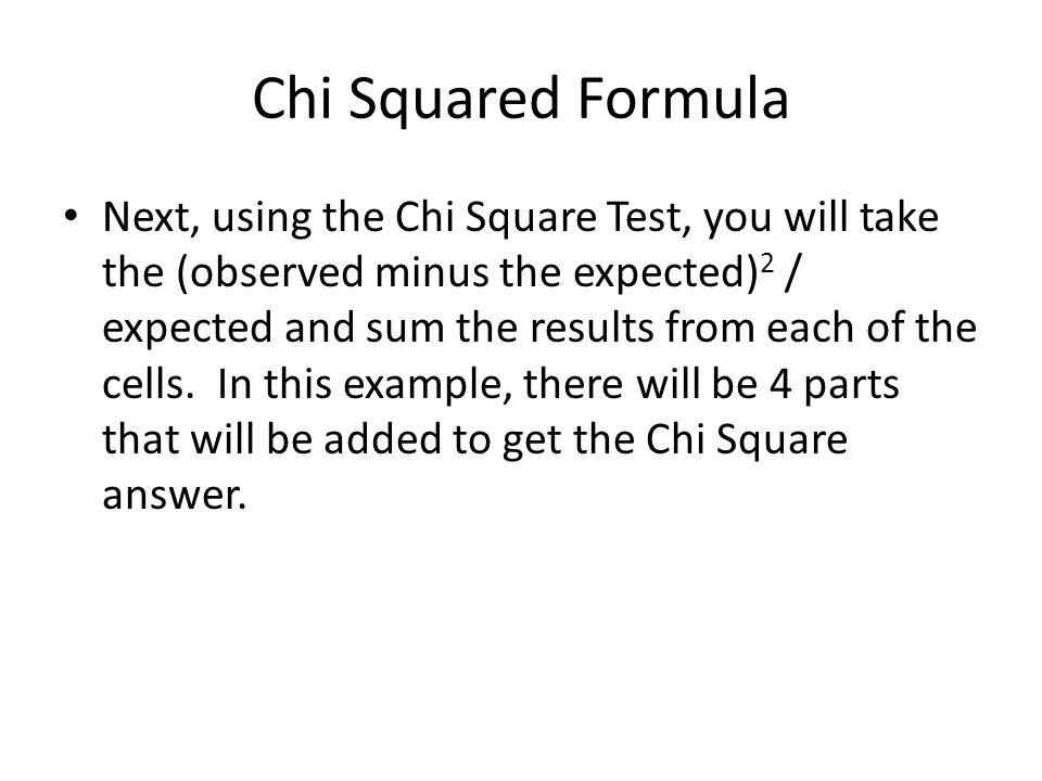 Chi Squared Formula