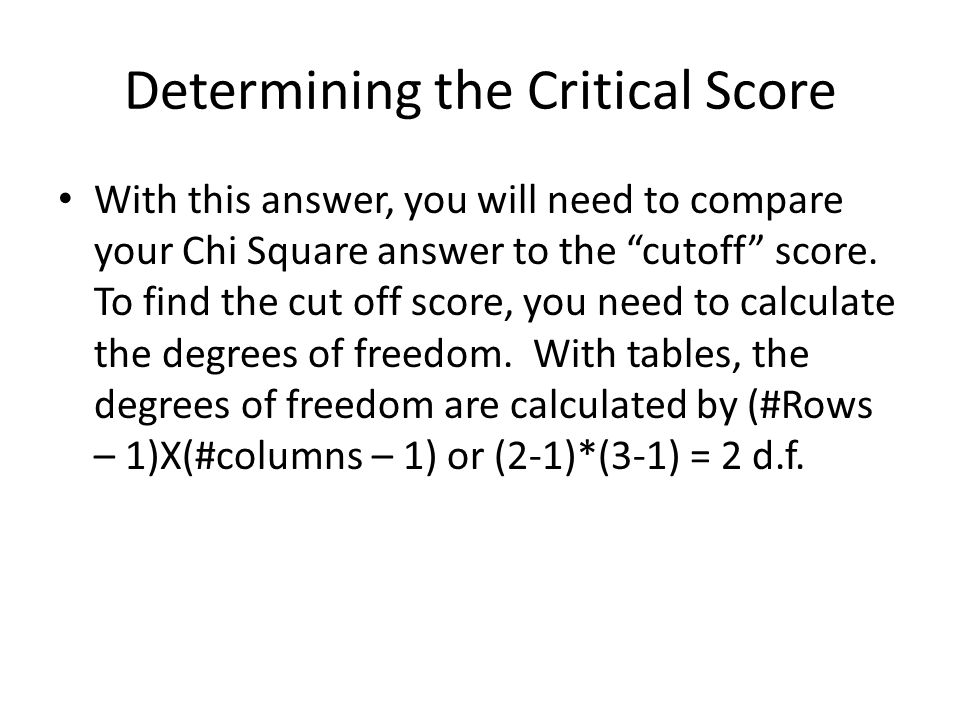Determining the Critical Score