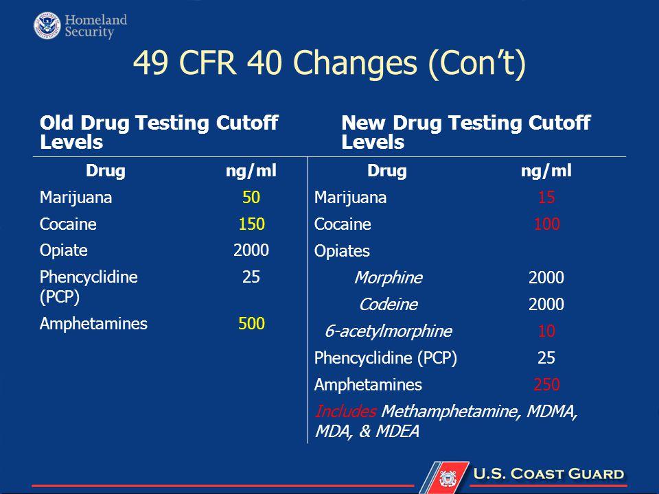 49 CFR 40 Changes (Con't) Old Drug Testing Cutoff Levels