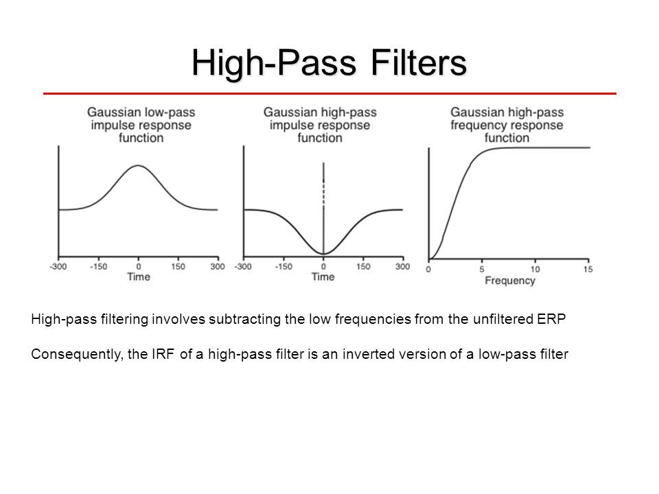 High-Pass Filters High-pass filtering involves subtracting the low frequencies from the unfiltered ERP.