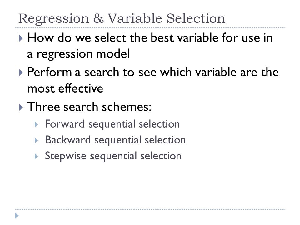 Regression & Variable Selection