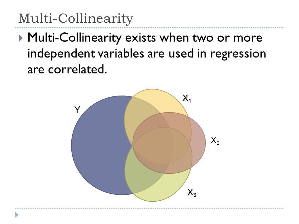 Multi-Collinearity Multi-Collinearity exists when two or more independent variables are used in regression are correlated.