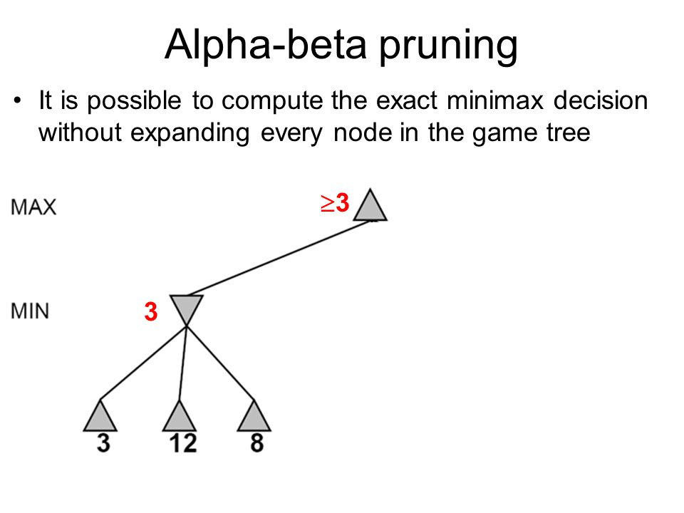 Alpha-beta pruning It is possible to compute the exact minimax decision without expanding every node in the game tree.