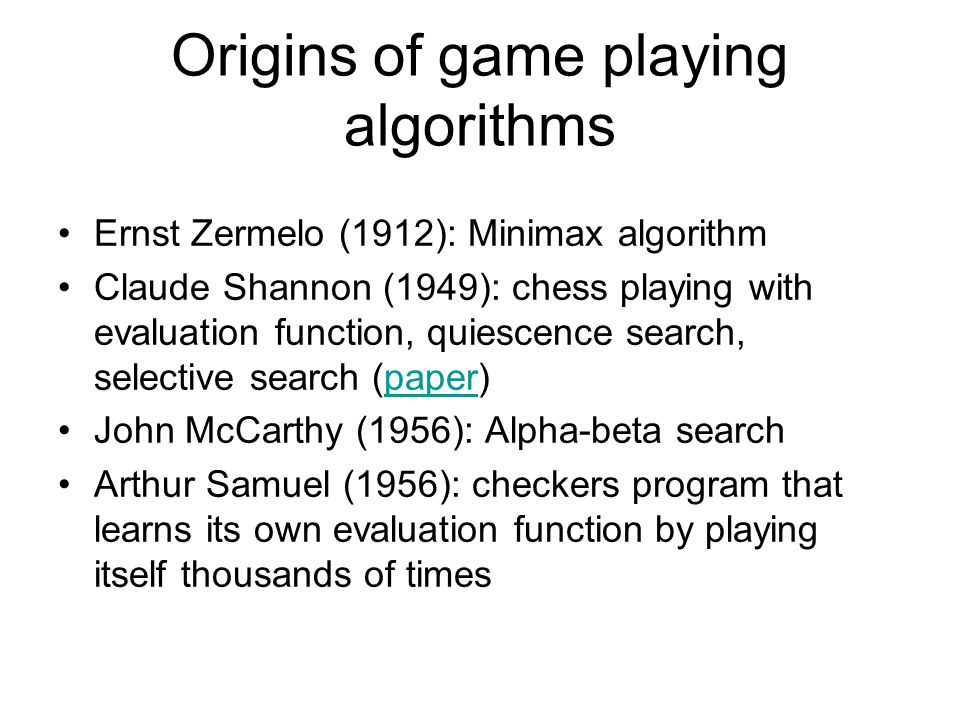 Origins of game playing algorithms