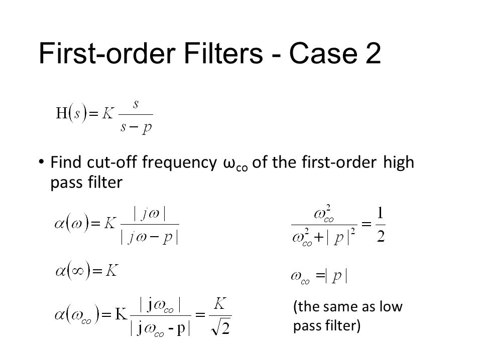 First-order Filters - Case 2