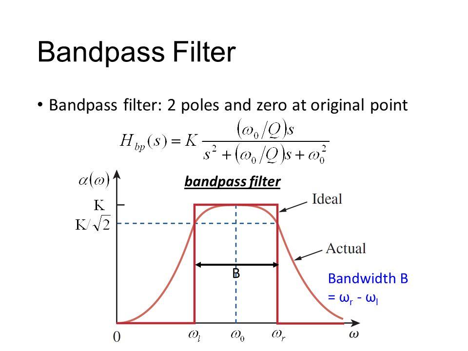 Bandpass Filter Bandpass filter: 2 poles and zero at original point