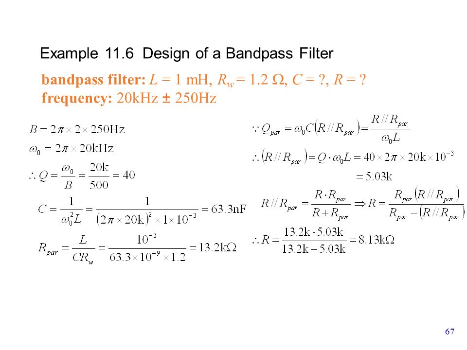 Example 11.6 Design of a Bandpass Filter