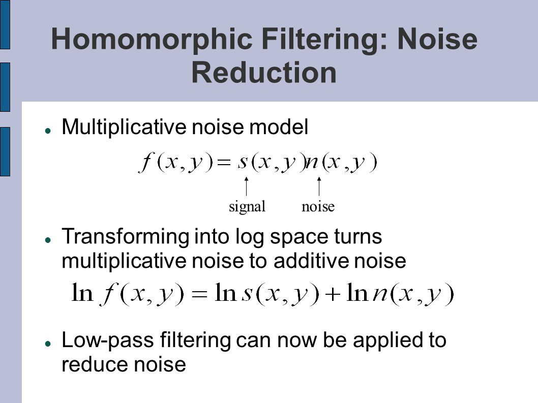 Homomorphic Filtering: Noise Reduction