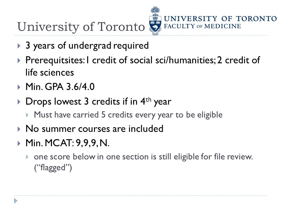 University of Toronto 3 years of undergrad required