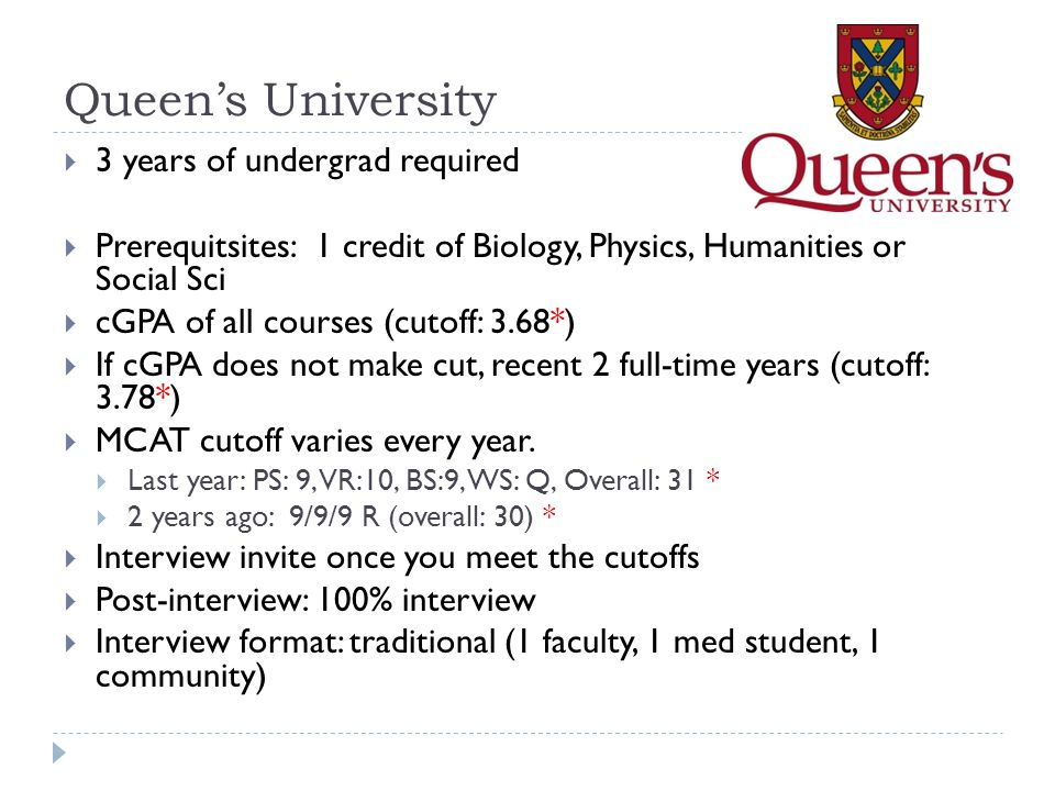 Queen's University 3 years of undergrad required