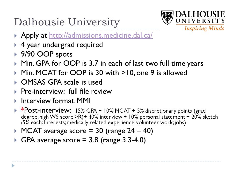 Dalhousie University Apply at http://admissions.medicine.dal.ca/