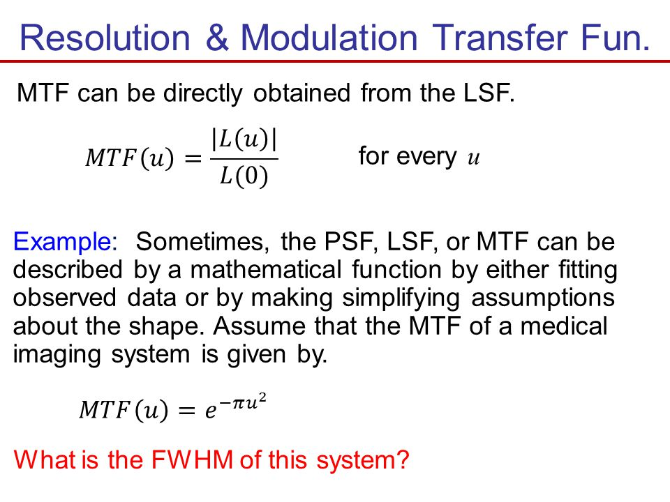 Resolution & Modulation Transfer Fun.