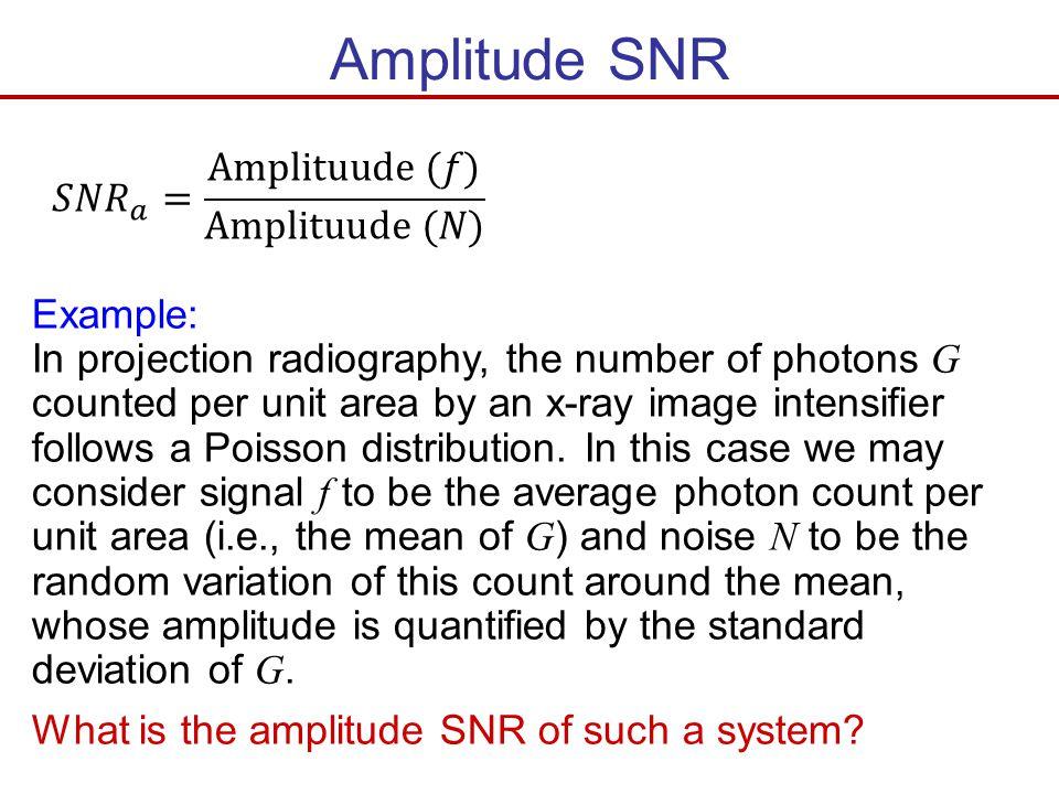 Amplitude SNR 𝑆𝑁𝑅 𝑎 = Amplituude (𝑓) Amplituude (𝑁) Example: