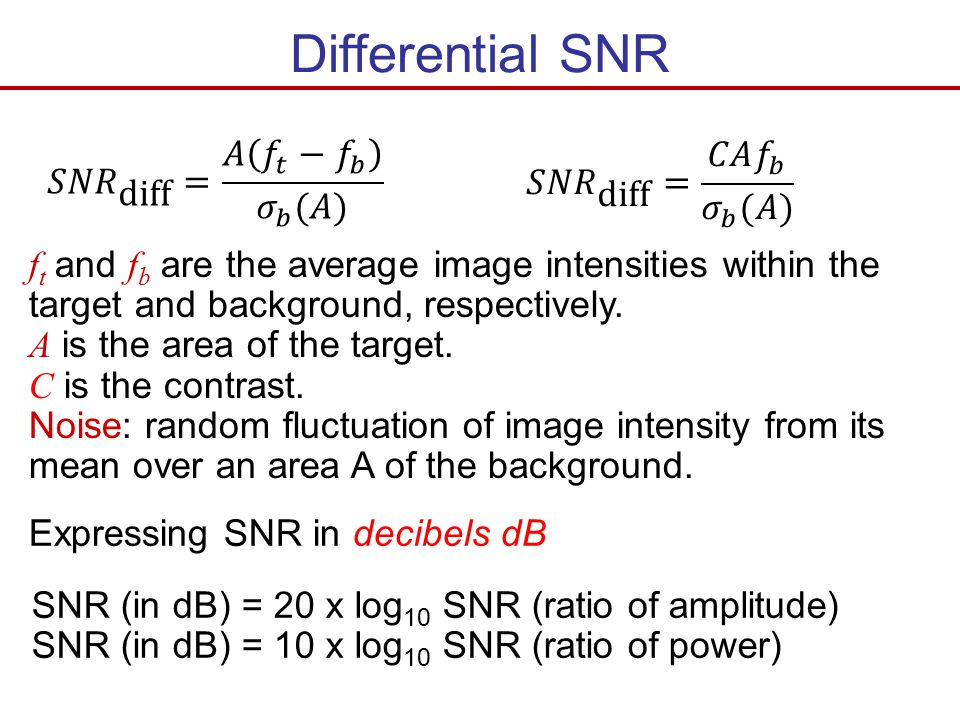 Differential SNR 𝑆𝑁𝑅 diff = 𝐴 𝑓 𝑡 − 𝑓 𝑏 𝜎 𝑏 (𝐴)