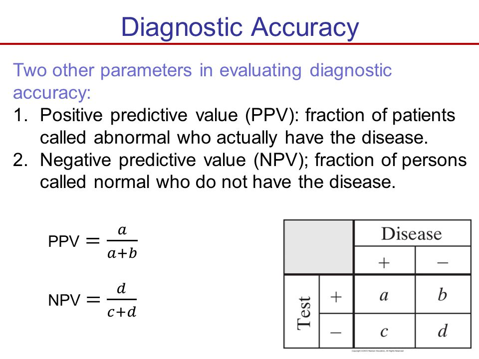 Diagnostic Accuracy Two other parameters in evaluating diagnostic accuracy: